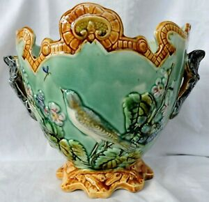 French  Majolica Onnaing  Planter Cache Pot C.1880 Bird judgenstil