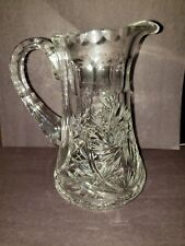 "Majestic Hand Cut Mouth Blown Pinwheel Crystal  Pitcher  6""  thumprint handle"