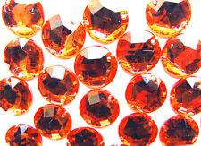 60 Orange Faceted Beads Acrylic Rhinestones/Gems 12 mm Round Flat Back Stitch On