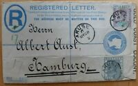 GOLD COAST / GOLDKÜSTE registered envelope 1902 - AKUSE-HAMBURG - EARLIEST USAGE