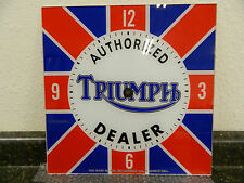 """*NEW* 15"""" TRIUMPH MOTORCYCLES BRITISH FLAG MOTOR OIL RD GLASS FACE PAM CLOCK"""
