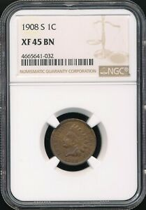 1908-S Indian Cent NGC XF 45 BN *Semi-Key Date* *Sharp Coin!*