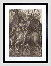 ALBRECHT DURER KNIGHT DEATH DEVIL OLD MASTER BLACK FRAMED ART PRINT B12X031