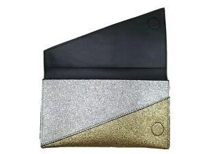 Estee Lauder Gold Silver Glitter Faux Leather Magnetic Closure Clutch