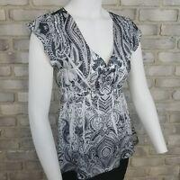 Apt 9 womens size PS blouse black white tunic stud empire waist cap sleeve