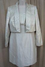 Tahari ASL Dress Petite Sz 10P Taupe Gold  Brocade Career Sheath Jacket Dress
