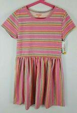 Cat & Jack Girls L 10/12, XL 14/16 Short Sleeve Striped Knit Casual Dress - Pink