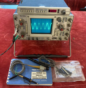 Tektronix 475A Oscilloscope with DM44 Meter includes User Manual & Probes