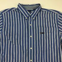 Chaps Button Up Shirt Mens 2XL XXL Blue White Short Sleeve Striped Easy Care