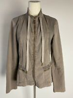XCVI Utility Jacket Women's Sz M tan Zip Front & Pockets Ruching Panel & Pockets