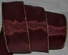 "Wired Ribbon~Christmas Dark Burgundy~Gold Edge~2.5""~Holiday~Wreath~Gift~Bow"