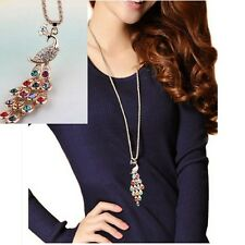Fashion Women Peacock Crystal Rhinestone Exquisite Pendant Long Chain Necklace
