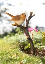 Robin on Twig Garden Bird Ornament - Resin Figure - Wild Bird Statue