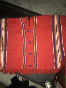 Childs Poncho Blanket Woven Vintage Wool/wool Blend Fringed
