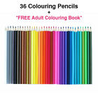 36 X Colouring Pencils Set Drawing Artist Kids + *free Adult Colouring Book*