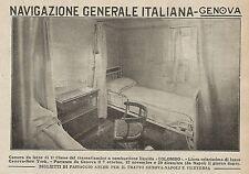 Z0807 Transatlantico COLOMBO Camera da letto di 1° Classe - Pubblicità del 1925