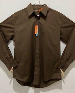 NWT Men Nyne Coolmax Poplin Shirt Size L Long Sleeve Button Down Brown Budweiser