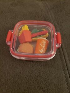 Set of 4 Fast Food Rubber Erasers Stationery