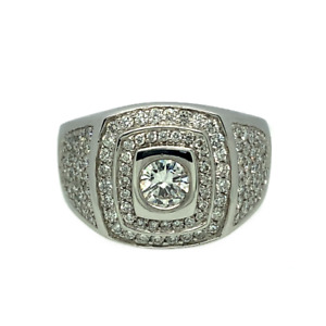 SALE 18ct White Gold & Diamond Pave set Cluster Ring