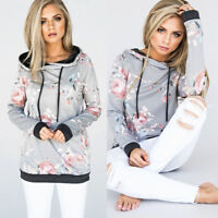 Oversize Womens Hoodie Floral Print Sweatshirt Hooded Pullover Jumper Coats Top