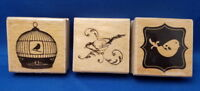 LOT BIRDS Animal - Wooden Rubber Stamp - 3 pc Scrapbook Stamping Craft SALE
