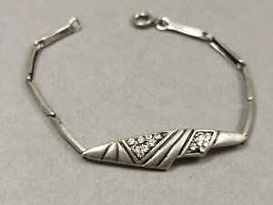 Silber Armband 925 Sterling Glieder mit Besatz
