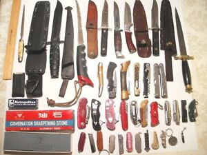 Collection of Knives + Large Sharpening Stone