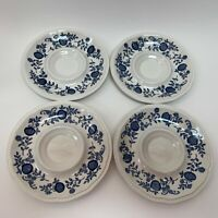 Staffordshire Kensington Ironstone England Saucers White Blue Onion Lot of 4