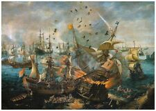 Battle of Gibraltar 1607 by van Wieringen Nautical Sea Canvas Poster NEW Print