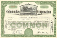 The Studebaker Corporation 1940s 1950s vintage auto car green stock certificate