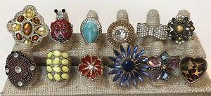 Lot of 12 stretch Back rings with Rhinestones, Crystals, Statement