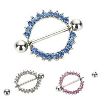 Fanshionable Sunflower Paved Circle Nipple Shield Ring Body Piercing Jewelry