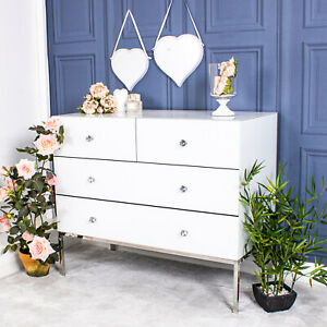 Large White Glass Chest Of Drawers Silver Cabinet Unit Hallway Bedroom Home