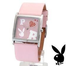 Playboy Watch Bunny Logo Red Heart Swarovski Crystals Pink Leather Band RARE HTF