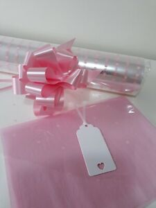 Pink Baby Cellophane Gift Wrap Hamper Kit, With Tissue Paper, Pull Bow & Tag