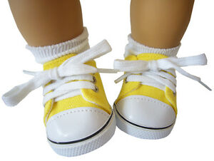 For Bitty Baby Bright Yellow Canvas Deck Gym Shoes Sneakers Doll Clothes