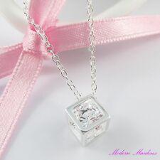 925 Silver Plate Cubic Zirconia Cube Pendant Necklace 46cm
