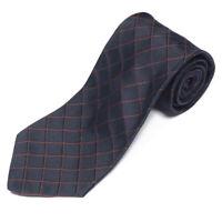 DOLCE & GABBANA Navy Blue Brown Diamond Windowpane Men's Silk Neck Tie