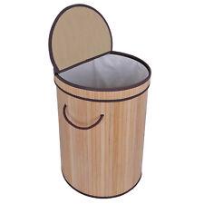 Round Bamboo Wicker Laundry Hamper Bathroom Clothes Storage Bin Basket W/Lid
