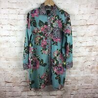 Soft Surroundings Womens Button Down Scattered Roses Blouse Top Size Medium