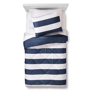 Pillowfort- Rugby Stripe Comforter Set, Full/Queen, Blue
