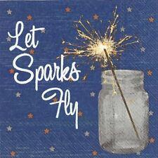 Let Sparks Fly 40 Pack of Blue Paper Cocktail Napkin Beverage 3-Ply Napkins