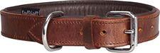 Knuffelwuff Basic Plus Collier en Cuir Doux pour Chien marron 36-45 cm