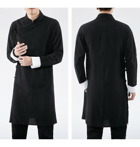 Chinese Men Cotton Linen Tang Suit Over Knee Long Jacket Tai Chi Kung Fu Uniform