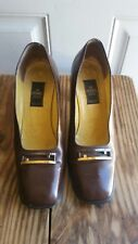 Authentic Fendi Gold Emblem Brown Patent Leather Zucca Block Pumps Size 39 Us 9