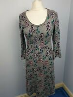Mantaray Grey Floral Cotton Scoop Neck 3/4 Sleeve Jumper Midi Dress Size 12