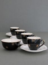 "Vintage Alfred Meakin ""Midnight Star"" Tazas Platillos Sugar Bowl Set"