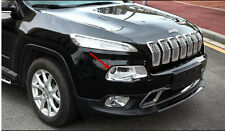 2pcs Chrome headlight Lamp Cover trim For Jeep Cherokee 2014-2018 (Fits: Jeep)