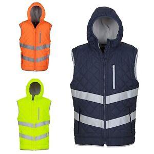 Yoko Hi Vis Viz Visibility Safety Workwear Showerproof Kensington Hooded Gilet