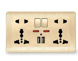 Wall Dual USB Socket Power Panel Port 2.1A Outlet Charger Switch Universal kit